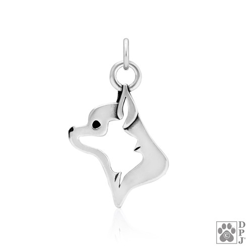 Chihuahua, Smooth Coat, Head pendant - recycled .925 Sterling Silver