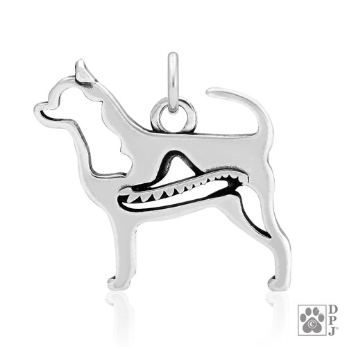 Chihuahua, Smooth Coat w/Sombrero, Body pendant  - recycled .925 Sterling Silver