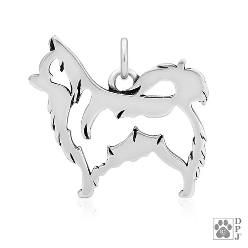 Chihuahua, Long-haired, Body pendant - recycled .925 Sterling Silver