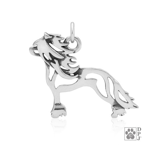 Chinese Crested Hairless, Body pendant - recycled .925 Sterling Silver