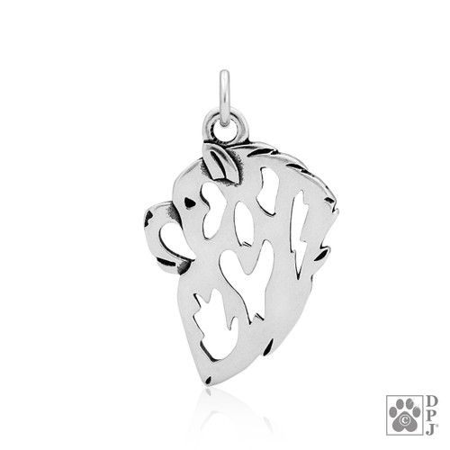 Chow Chow, Head pendant - recycled .925 Sterling Silver