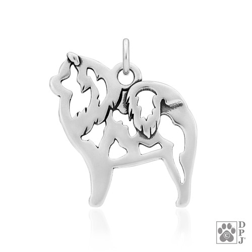 Chow Chow, Body pendant - recycled .925 Sterling Silver