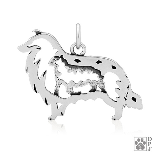 Collie, Rough Coat w/Sheep, Body pendant  - recycled .925 Sterling Silver