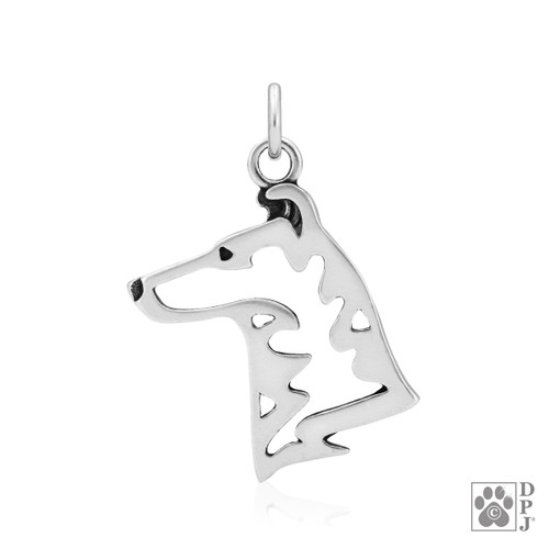 Collie, Smooth Coat, Head pendant - recycled .925 Sterling Silver