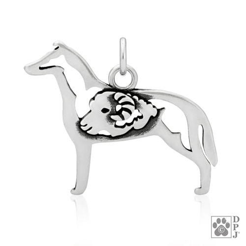 Collie, Smooth Coat w/Ram, Body pendant  - recycled .925 Sterling Silver
