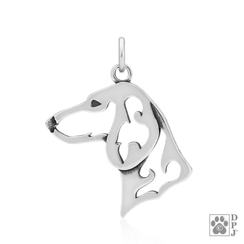 Dachshund Smooth Coat, Head pendant - recycled .925 Sterling Silver