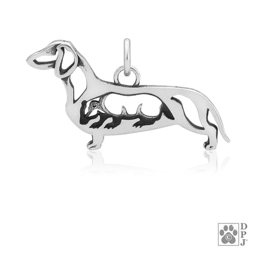 Dachshund Smooth Coat w/Badger, Body pendant - recycled .925 Sterling Silver