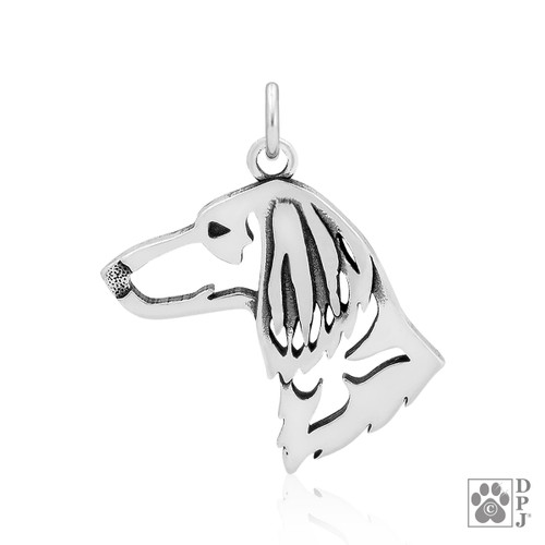 Dachshund Longhaired - Head pendant - recycled .925 Sterling Silver