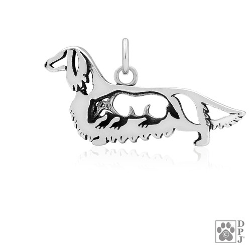 Dachshund Longhaired w/Badger, Body pendant - recycled .925 Sterling Silver