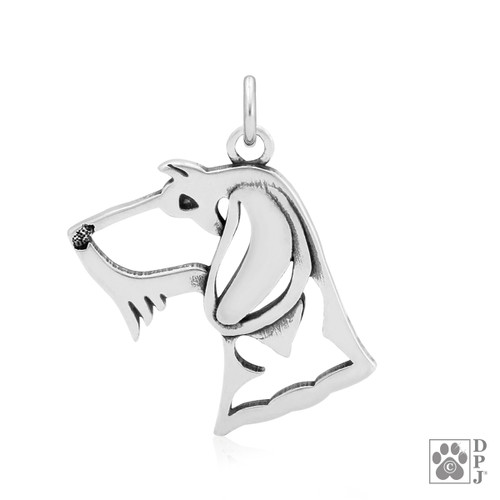 Dachshund Wirehaired, Head pendant  - recycled .925 Sterling Silver