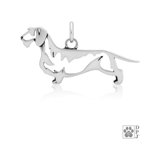 Dachshund Wirehaired, Body pendant  - recycled .925 Sterling Silver