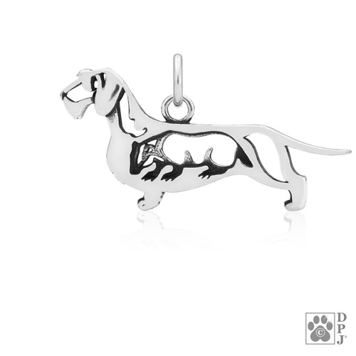 Dachshund Wirehaired w/Badger, Body pendant  - recycled .925 Sterling Silver