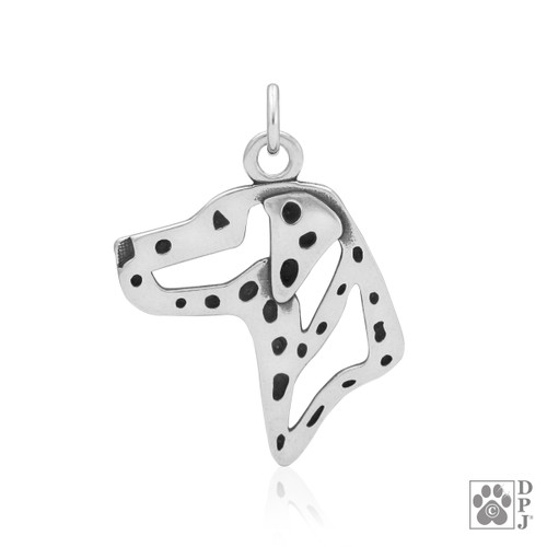 Dalmatian, Head pendant - recycled .925 Sterling Silver