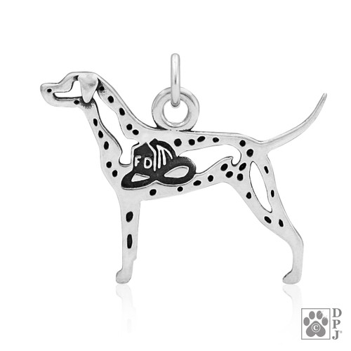 Dalmatian w/Fire Hat, Body pendant  - recycled .925 Sterling Silver