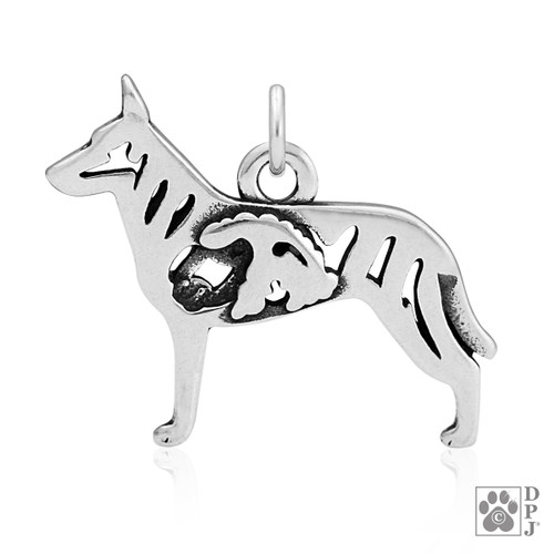 Dutch Shepherd w/Sheep, Body pendant - recycled .925 Sterling Silver