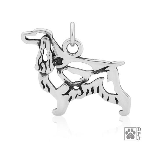 English Cocker Spaniel w/Pheasant, Body pendant - recycled .925 Sterling Silver