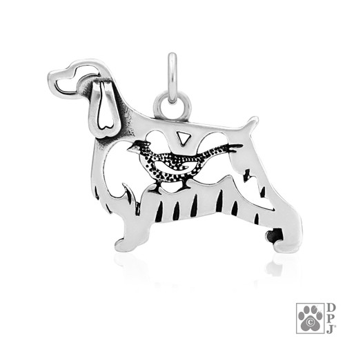 English Springer Spaniel w/Pheasant, Body pendant  - recycled .925 Sterling Silver