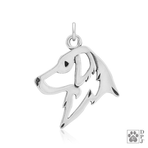 Flat-Coated Retriever, Head pendant - recycled .925 Sterling Silver