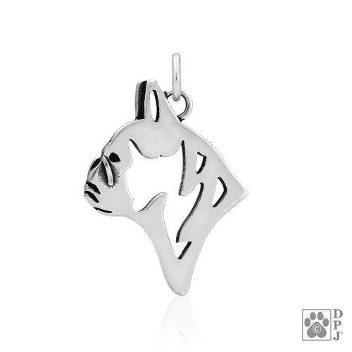 French Bulldog, Head pendant  - recycled .925 Sterling Silver