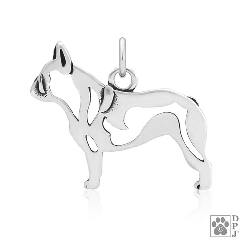 French Bulldog, Body pendant  - recycled .925 Sterling Silver