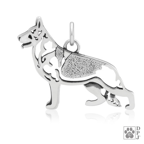 German Shepherd, Body pendant - recycled .925 Sterling Silver