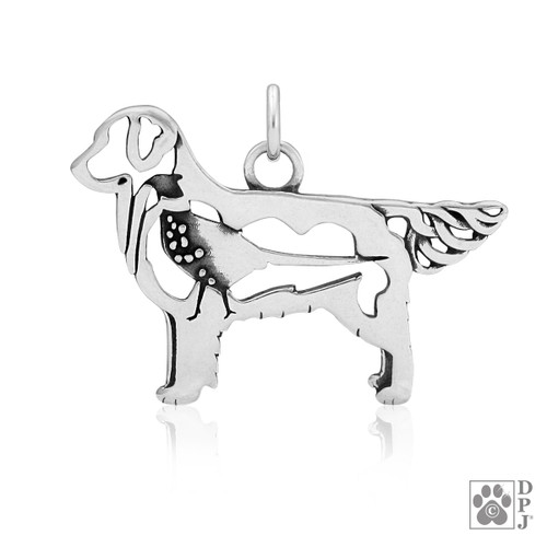 Golden Retriever w/Pheasant, Body pendant  - recycled .925 Sterling Silver