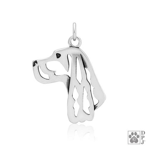 Gordon Setter, Head pendant - recycled .925 Sterling Silver