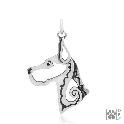 Great Dane, Cropped Ears, Head pendant - recycled .925 Sterling Silver