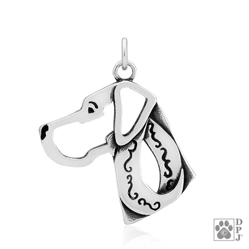 Great Dane, Natural Ears, Head pendant  - recycled .925 Sterling Silver