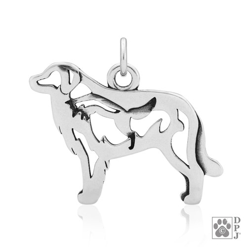 Great Pyrenees w/Fox, Body pendant  - recycled .925 Sterling Silver