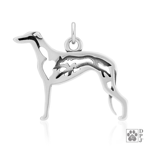 Greyhound w/Fox Body Pendant - recycled .925 Sterling Silver