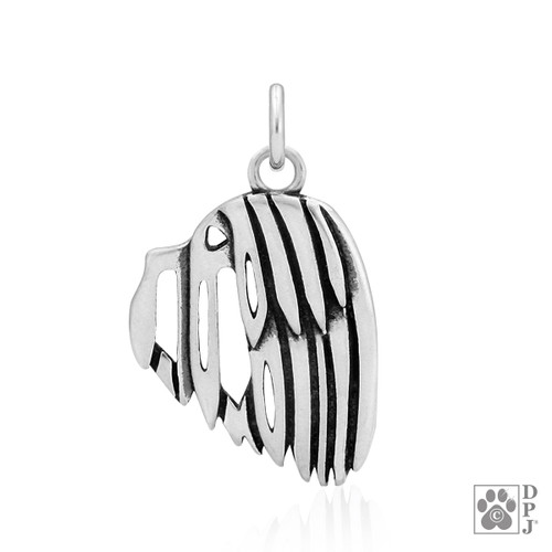 Havanese, Head pendant - recycled .925 Sterling Silver