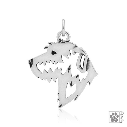 Irish Wolfhound, Head pendant - recycled .925 Sterling Silver