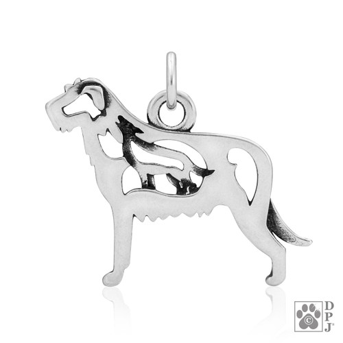 Irish Wolfhound w/Wolf, Body pendant  - recycled .925 Sterling Silver