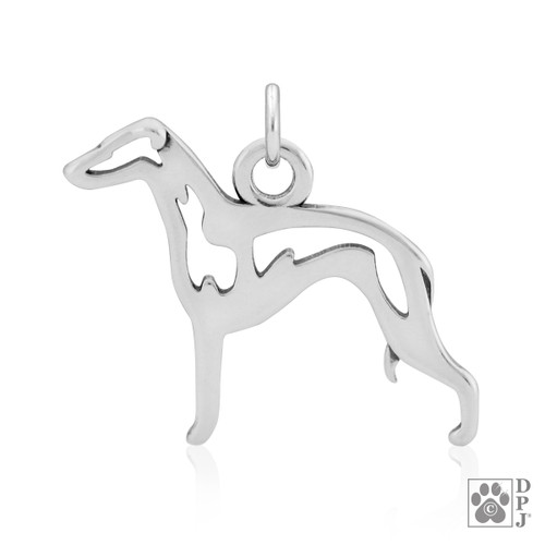 Italian Greyhound Body pendant - recycled .925 Sterling Silver