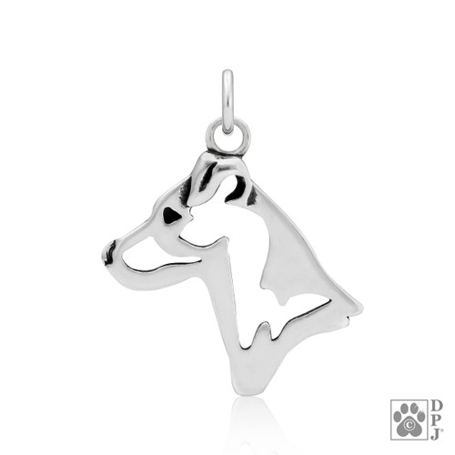 Jack Russell Terrier, Smooth Coat, Head pendant  - recycled .925 Sterling Silver