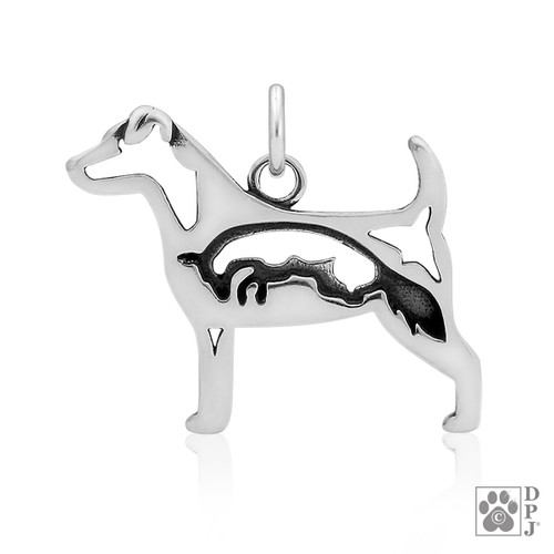 Jack Russell Terrier w/Fox, Body pendant - recycled .925 Sterling Silver