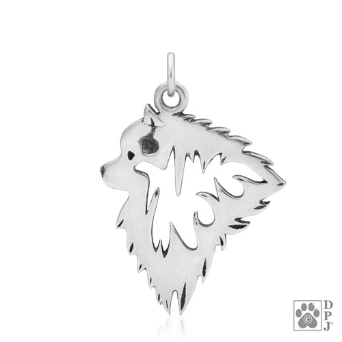 Keeshond, Head pendant - recycled .925 Sterling Silver