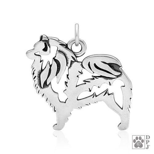 Keeshond, Body pendant - recycled .925 Sterling Silver