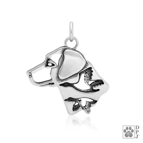 Labrador Retriever w/Ducks, Head Pendant - recycled .925 Sterling Silver