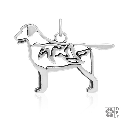 Labrador Retriever w/Ducks, Body pendant - recycled .925 Sterling Silver
