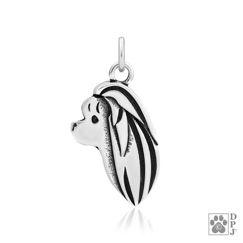 Maltese, Head pendant - recycled .925 Sterling Silver