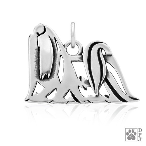 Maltese, Show cut, Body pendant - recycled .925 Sterling Silver