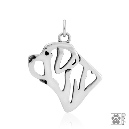 Mastiff, Head pendant  - recycled .925 Sterling Silver