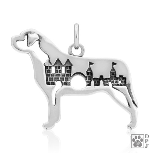 Mastiff w/Castle, Body pendant - recycled .925 Sterling Silver