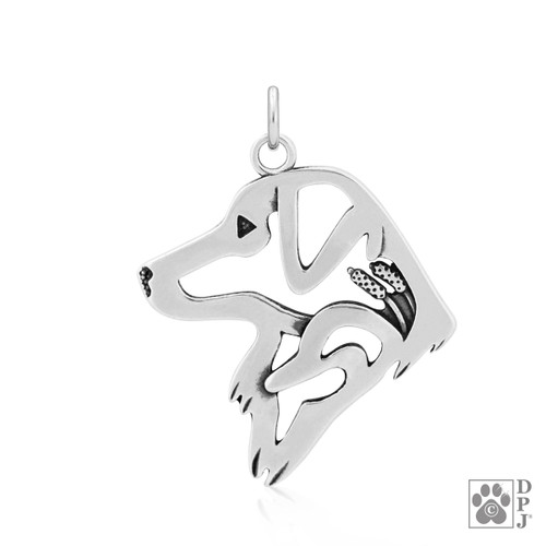 Nova Scotia Duck Tolling Retriever w/Duck, Head pendant - recycled .925 Sterling Silver