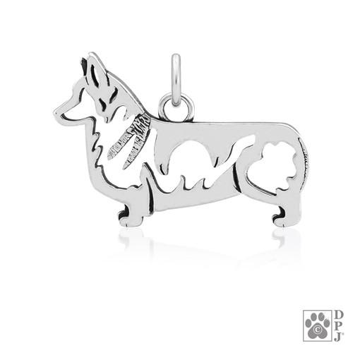 Pembroke Corgi, Body pendant  - recycled .925 Sterling Silver