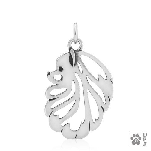 Pomeranian, Head pendant - recycled .925 Sterling Silver