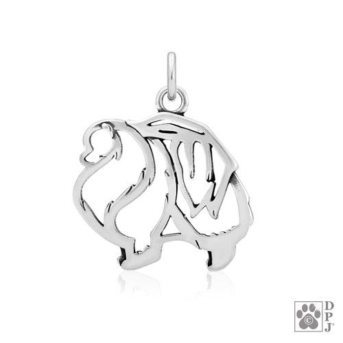 Pomeranian, Body pendant  - recycled .925 Sterling Silver