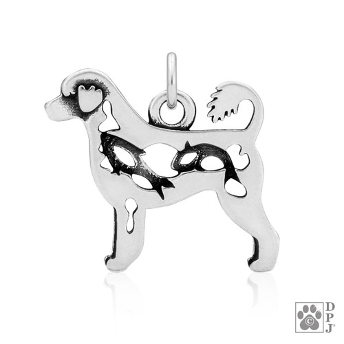 Portuguese Water Dog, Retriever Cut, Body Pendant - recycled .925 Sterling Silver